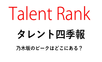 【Talent Rank】タレント四季報・乃木坂のピークはどこにある?