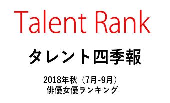 【Talent Rank】タレント四季報・2018年秋の俳優女優No.1は石原さとみ